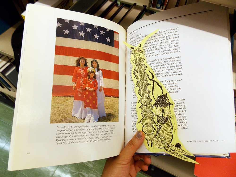 "In order to produce a large number of ""centipedes,"" the collages were remade into small prints and inserted into library books on relevant subjects like immigration and foreign policies. Total five stories of the nine were remade into prints with several different kinds of paper. The Herman B. Wells Library, Indiana University Bloomington."