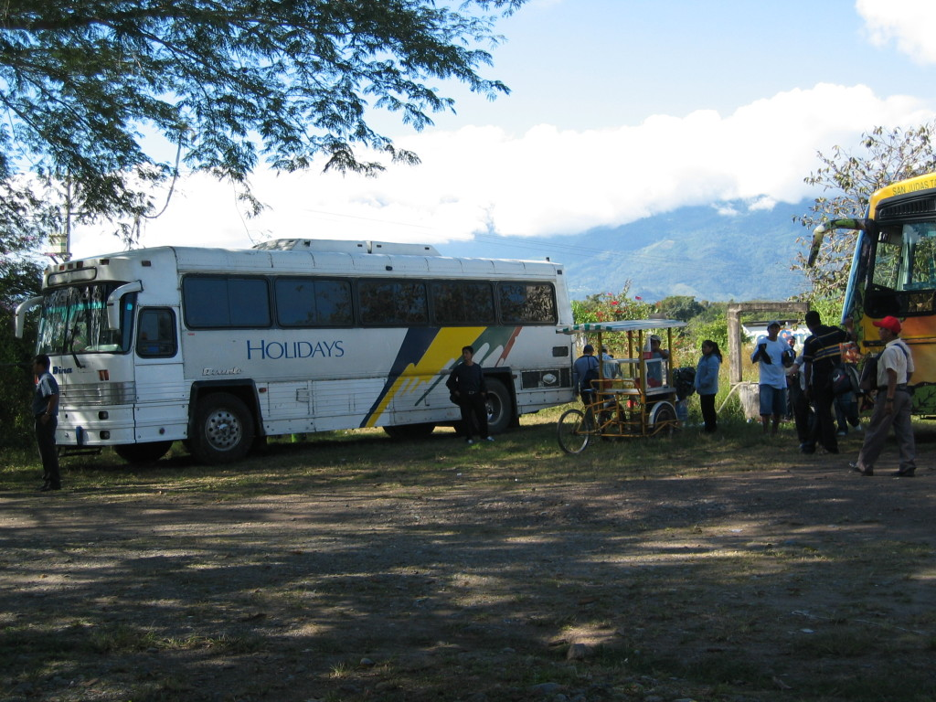 Image 1: Bus stationed in Frontera Comalapa, Chiapas, Mexico in expectation of a journey to the U.S.-Mexico Border. - Photo Credit: Rebecca B. Galemba