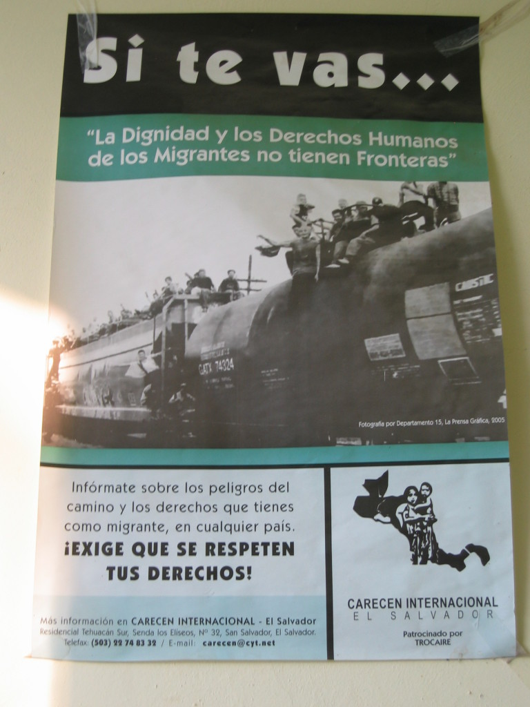 """Image 2: Flyer warning migrants of the dangers of """"The Beast"""" if they decided to travel north. Translation: """"If you go... 'the dignity and human rights of migrants do not have borders."""" - Photo Credit: Photo taken by Rebecca B. Galemba at the Casa del Migrante in Tecún Umán, Guatemala."""