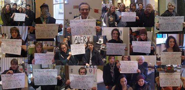 De NieuweUniversiteit - vooreendemocratischeuniversiteit Solidarity to the students of UCT. Photo credit: De NieuweUniversiteit - vooreendemocratischeuniversiteit